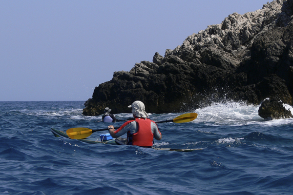 Small waves on kayaking trip in Greece with Crossing Latitudes