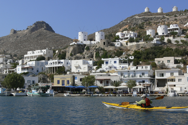 Kayaking into Pandelli on Leros with Crossing Latitudes